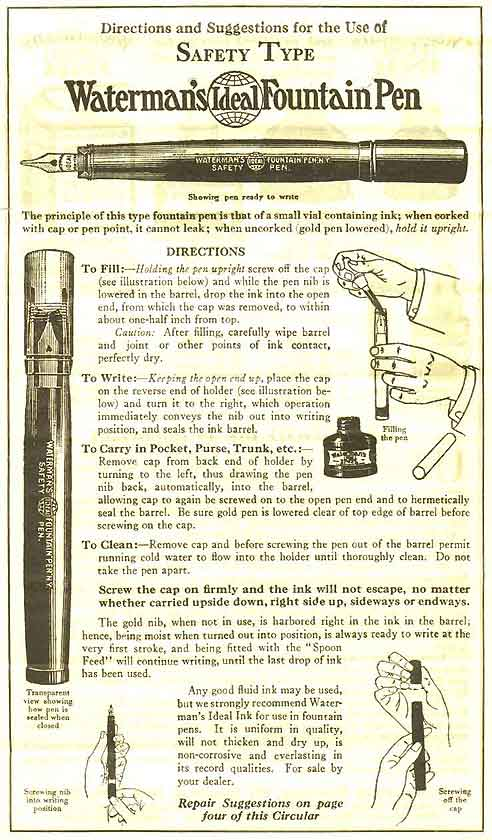 Waterman safety pen instructions